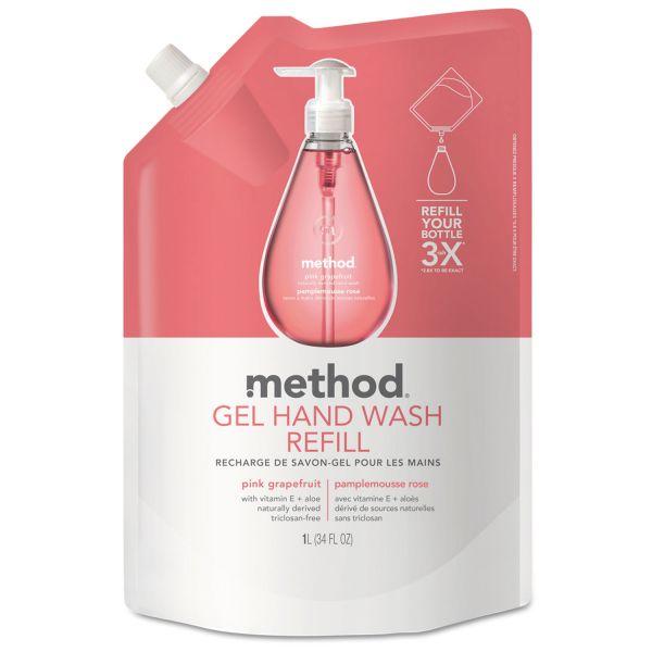 Method Gel Hand Wash Refill, Pink Grapefruit, 34 oz Pouch, 6/Carton