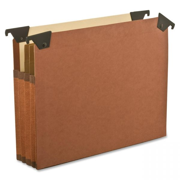 """Pendaflex 3 1/2"""" Hanging File Pockets with Swing Hooks, 1/5 Tab, Letter, Brown, 5/Box"""