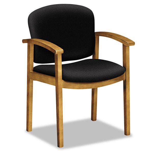 HON 2111 Single Rail Harvest Wood Guest Chair