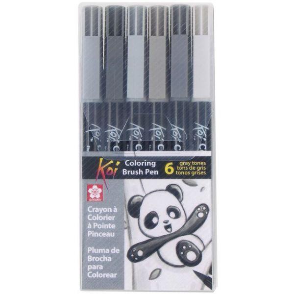 Koi Coloring Brush Pens 6/Pkg