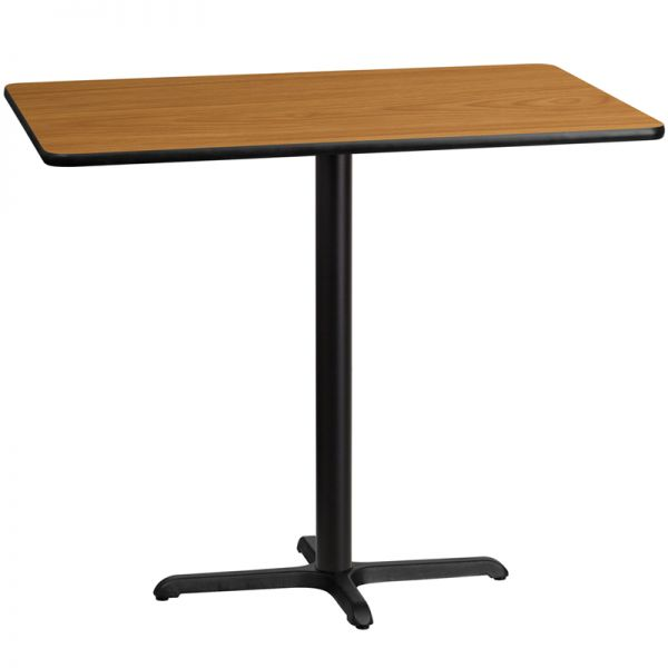 Flash Furniture 30'' x 48'' Rectangular Natural Laminate Table Top with 22'' x 30'' Bar Height Table Base