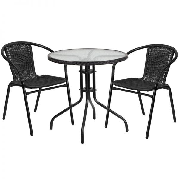 Flash Furniture 28'' Round Glass Metal Table with Black Rattan Edging and 2 Black Rattan Stack Chairs