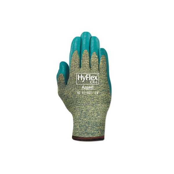 AnsellPro HyFlex Medium-Duty Assembly Gloves, Gray/Green, Size 10, 12 Pairs