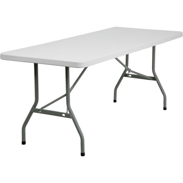 Flash Furniture 30''W x 72''L Granite White Plastic Folding Table [RB-3072-GG]