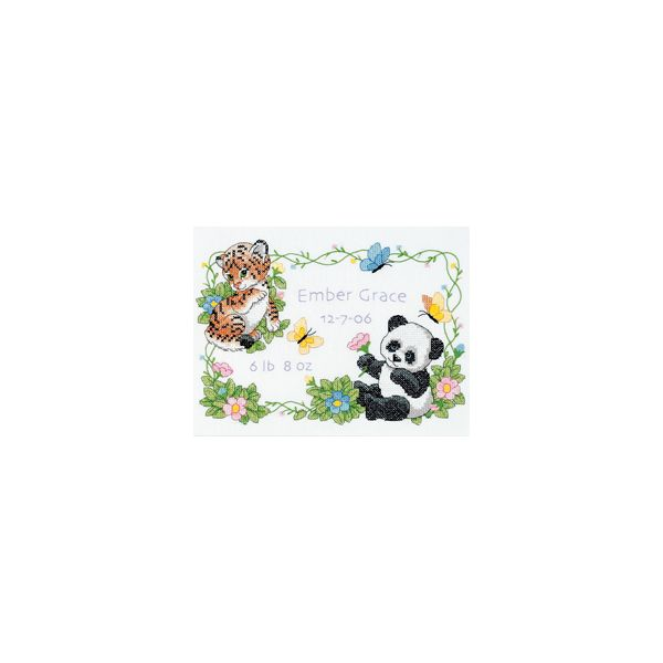Dimensions Baby Hugs Baby Animals Birth Record Stamped Cross Stitch Kit