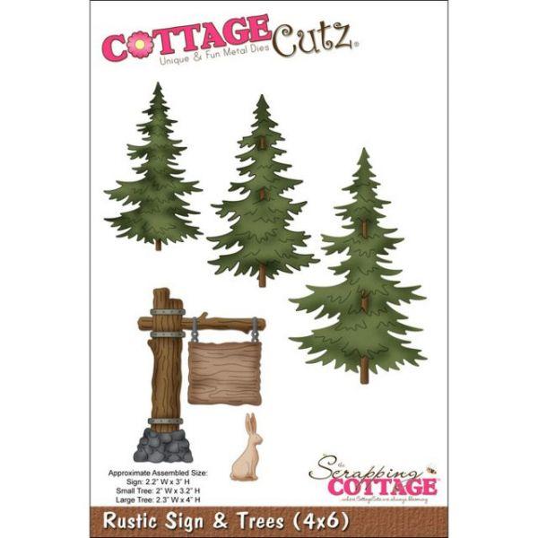 CottageCutz Rustic Sign & Trees Die