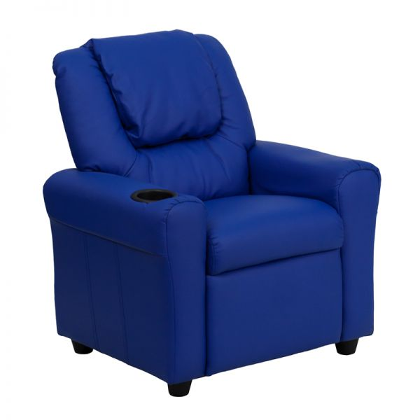 Flash Furniture Contemporary Blue Vinyl Kids Recliner with Cup Holder and Headrest