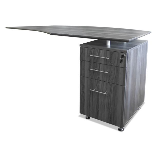 Mayline Medina Series Laminate Curved Right Return, 63w x 24d x 29 1/2h, Gray Steel