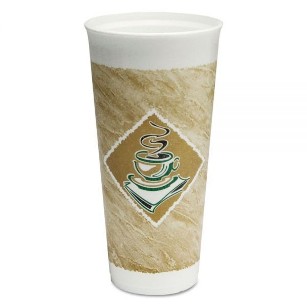 Dart Café G Foam Hot/Cold Cups, 24 oz, Green/White, 20/Bag, 20 Bags/Carton