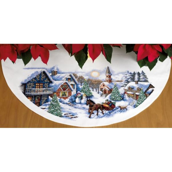 Dimensions Sleigh Ride Tree Skirt Counted Cross Stitch Kit