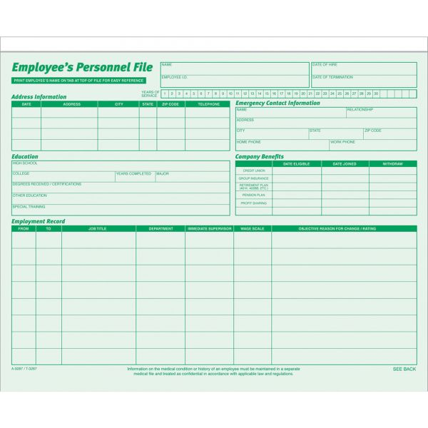 TOPS Employee Record File Folders, Straight Cut, Letter, 2-Sided, Green Ink, 20/Pack