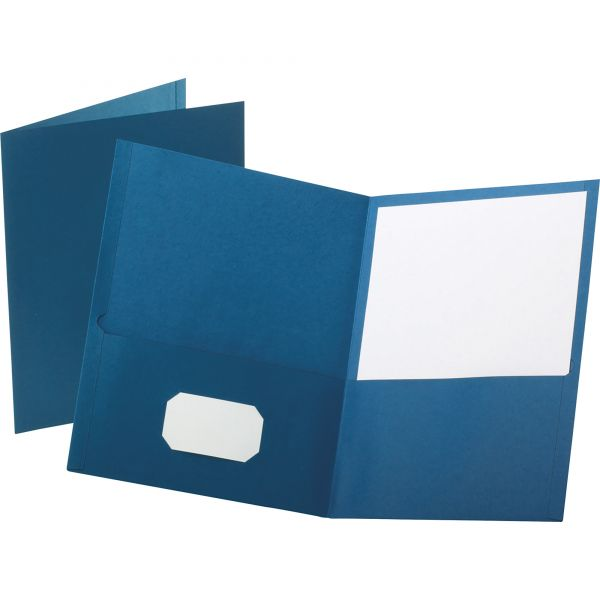 Oxford Twin-Pocket Folder, 100-Sheet Capacity, Blue, 25/Box