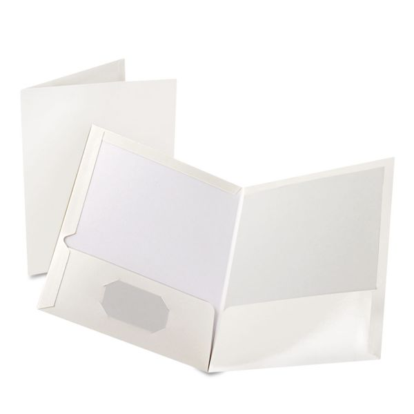 Oxford White Laminated Two Pocket Folders