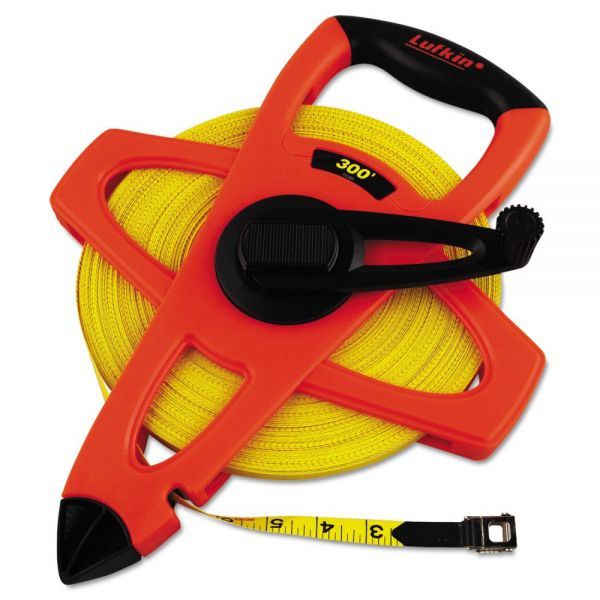 "Lufkin Engineer Hi-Viz Fiberglass Measuring Tape, 1/2""x300ft, Yellow Blade, Orange Case"