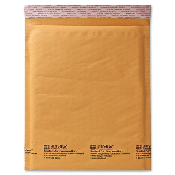 Sealed Air Jiffylite Self Seal Mailer, #6, 12 1/2 x 19, Golden Brown, 50/Carton