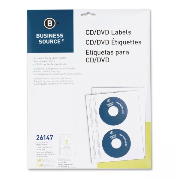 Business Source 26147 CD/DVD Label - 50 / Pack