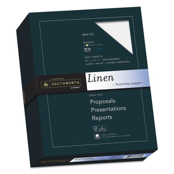 Southworth 25% Cotton Linen Business Paper, 24lb, 91 Bright, 8 1/2 x 11, 500 Sheets