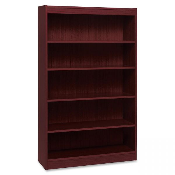 Lorell Panel End 5-Shelf Hardwood Veneer Bookcase