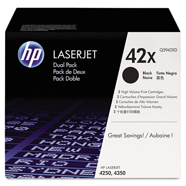 HP 42X Black High Yield Toner Cartridges (Q5942XD)