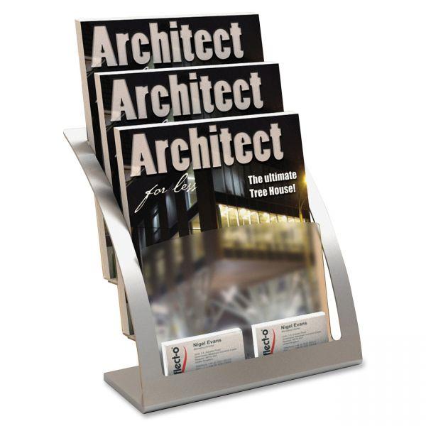 deflecto Three-Tier Magazine Holder, 11 1/4w x 6 15/16d x 13 5/16h, Silver