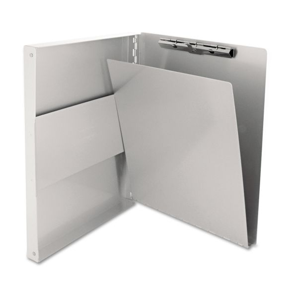"""Saunders Snapak Aluminum Side-Open Forms Folder, 1/2"""" Clip, 8 1/2 x 12 Sheets, Silver"""