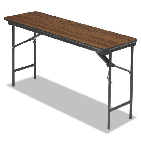 Iceberg Premium Wood Laminate Folding Table, Rectangular, 60w x 18d x 29h, Oak