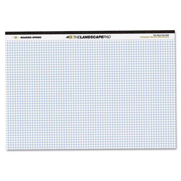 Roaring Spring WIDE Landscape Format Quadrille Writing Pad, 11 x 9 1/2, White, 40 Sheets