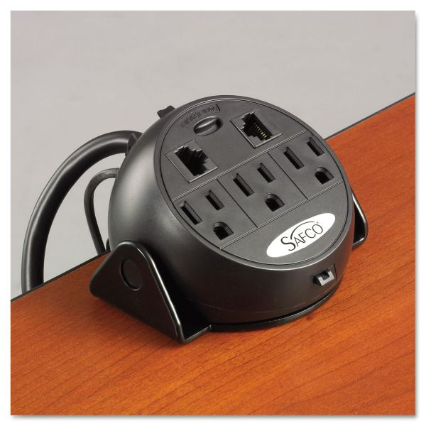 Safco Power Module, 3 Outlets, 2 RJ-45 Ports, 8 ft Cord