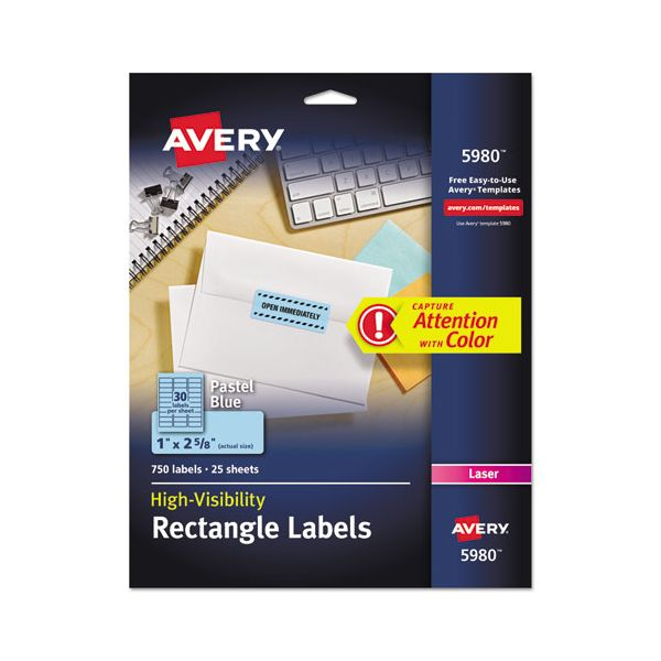 Avery High-Visibility Permanent ID Labels, Laser, 1 x 2 5/8, Pastel Blue, 750/Pack
