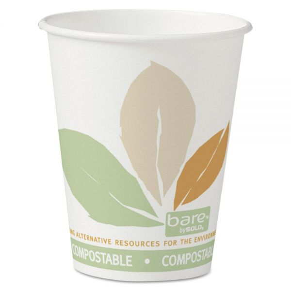 Dart Bare by Solo Eco-Forward PLA Paper Hot Cups, 8 oz, Leaf Design,50/Bag,20 Bags/Ct