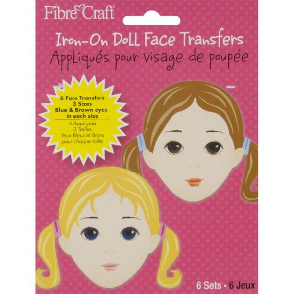 Iron-On Doll Face Transfers 6/Pkg