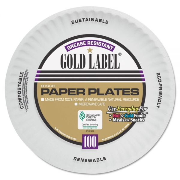"AJM Packaging Corporation 9"" Coated Paper Plates"