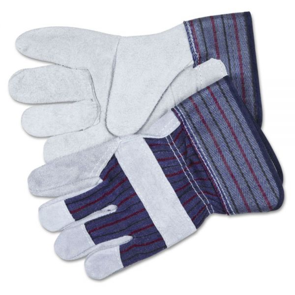 MCR Safety Split Leather Palm Gloves, X-Large, Gray, Pair
