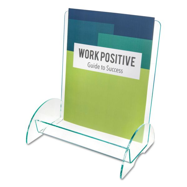 deflect-o Euro-Style Docuholder Plastic Magazine Display Rack, Clear with Green Tint Edges