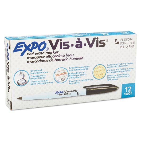 EXPO Vis-à-Vis Wet-Erase Marker, Fine Point, Black, Dozen