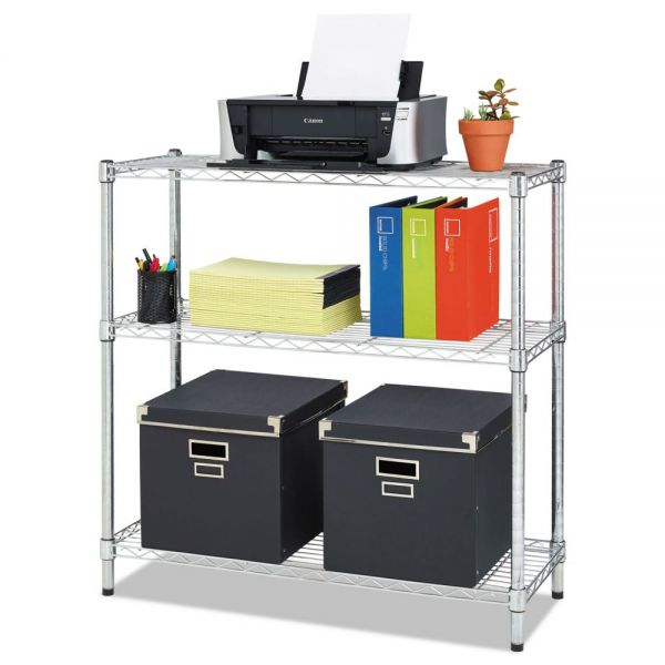 Alera Residential Wire Shelving, Three-Shelf, 36w x 14d x 36h, Silver
