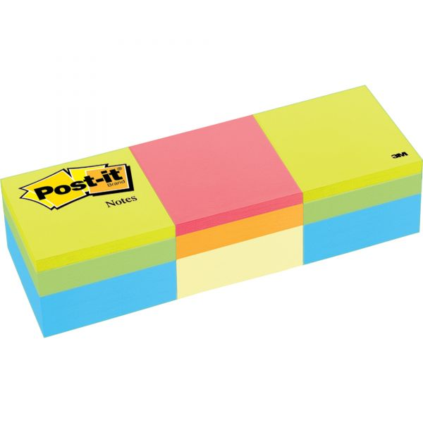 Post-it Notes Mini Cubes, 2 x 2, Canary Yellow/Green Wave, 400-Sheet, 3/Pack