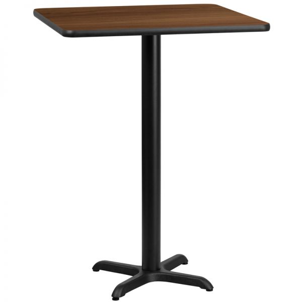 Flash Furniture 30'' Square Walnut Laminate Table Top with 22'' x 22'' Bar Height Table Base