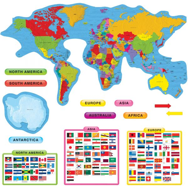 Trend Continents & Countries Bulletin Board Set
