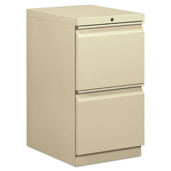 HON Efficiencies Mobile Pedestal File w/Two File Drawers, 19-7/8d, Putty