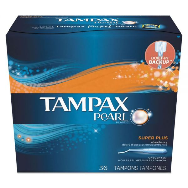 Tampax Pearl Tampons, Super Plus, 36/Box