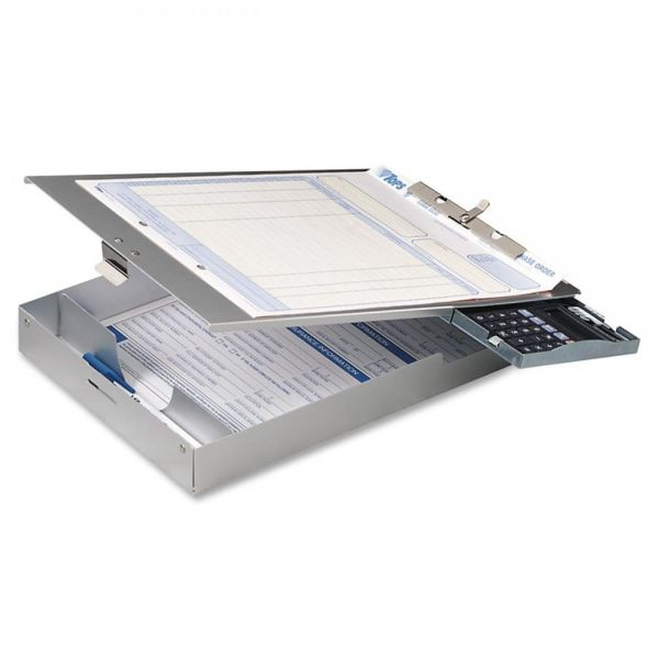 OIC Aluminum Top-Loading Clipboard w/Calc.