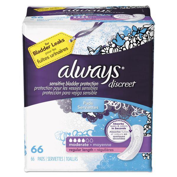 Always Discreet Sensitive Bladder Protection Pads, Moderate, 66/Pack, 3 Pack/Carton