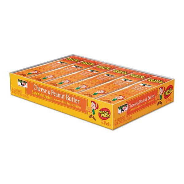 Keebler Sandwich Crackers, Cheese & Peanut Butter, 8-Piece Snack Pack, 12/Box