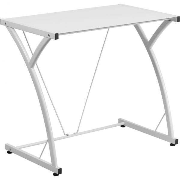 Flash Furniture Contemporary Tempered White Glass Computer Desk with Matching Frame