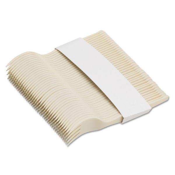 "Dixie SmartStock Plastic Cutlery Refill, Forks, 6 1/2"", Beige, 40/Pack, 24 Packs/Case"