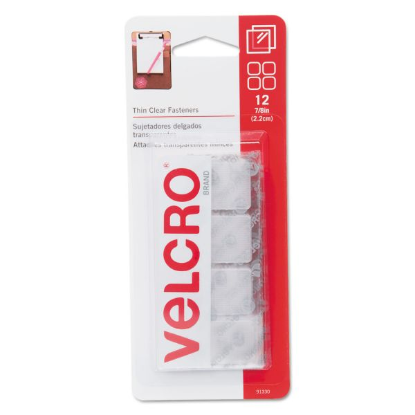 "Velcro Sticky-Back Hook & Loop Fastener Squares, 1 1/4"", Clear"