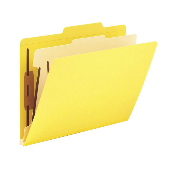 Smead Yellow 1-Divider Classification Folders