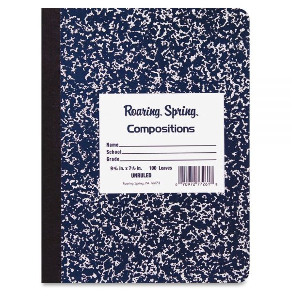 Roaring Spring Blue Marble Unruled Composition Book