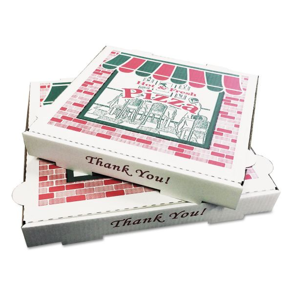 PIZZA Box Takeout Containers, 16in Pizza, White, 16w x 16d x 2 1/2h, 50/Bundle